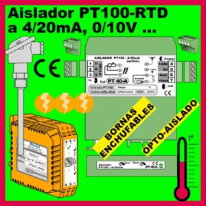 01b2- Aislador Pt100-RTD (salida 0-10V, 4-20mA)