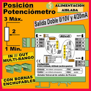02a2- Convertidor Posición - Potenciómetro (salida 0-10V, 4-20mA)