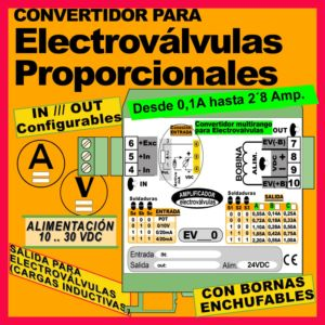 03b2- Convertidor para Electroválvulas (entrada 0-10V, 4-20mA, Potenciómetro)