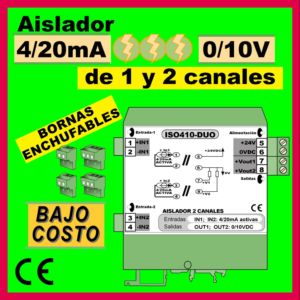 04b2- Aislador de 1 y 2 canales BAJO COSTO (4-20mA a 0-10V)