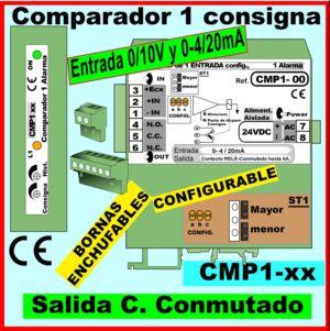 08a- Comparador entrada 0-20mA, 0-10v, salida relé conmutado 1- consigna