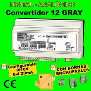 09e2- Convertidor Digital 12 bits GRAY a Analógico (0-10V, 0-4-20mA)