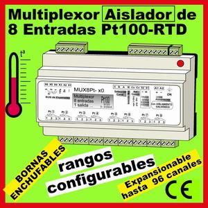 10c- Multiplexor Aislado 8 entradas Pt100-RTD, 1 salida de proceso EXPANSIONABLE