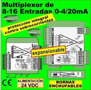 10f2- Multiplexor 8-16 entradas 0-4-20mA, 1 salida 0-4-20mA. EXPANSIONABLE
