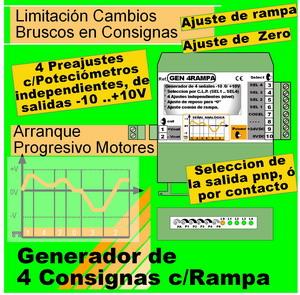 14b2- Generador de 4+1 señales -10 - +10V (Consignas y Rampas independientes)