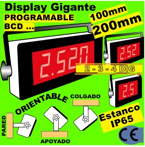 15d- Display GIGANTE 4 Digitos 100-200 mm, BCD. Programable. IP65